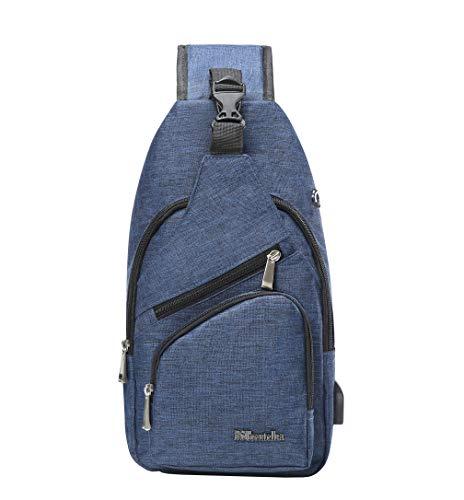 53ffedd7b42a BSTcentelha Sling Shoulder Crossbody Chest Bag for Men Women Lightweight  Hiking Travel Backpack Daypack with USB Charging Port (Blue)