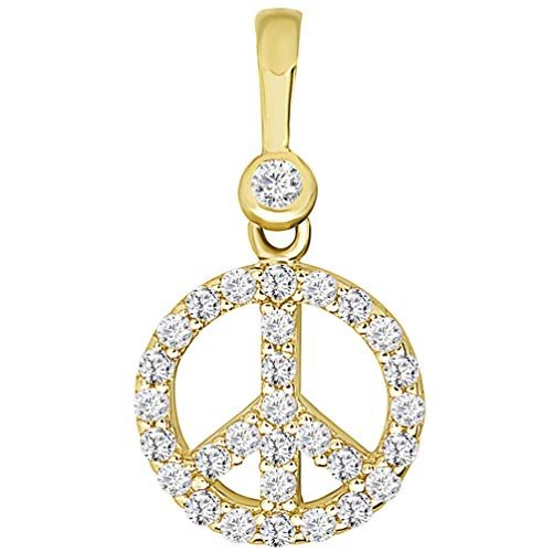 Solid 14k Yellow Gold Mini Peace Symbol Charm Pendant with Cubic Zirconia