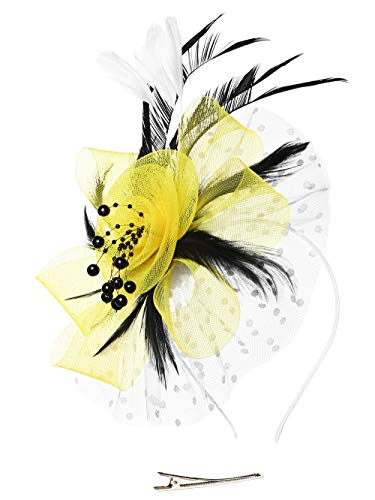 (Fascinators Headband Tea Party Hats for Women Royal Wedding Hat Feather Mesh Hair Clip (1-Yellow and White and Black))