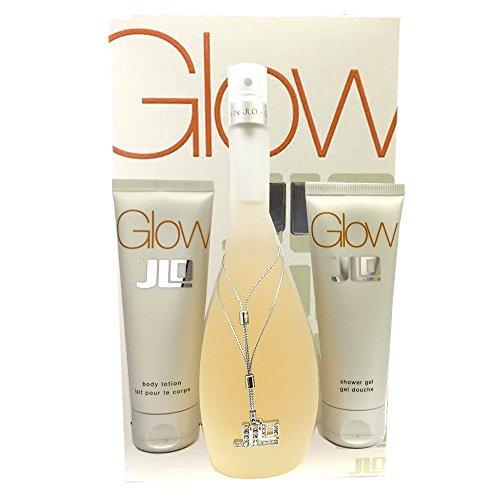 Picks Glow (Glow by J. Lo for Women Glitter Picks Gift Set Includes: 3.4 oz Eau de Parfum Spray + 2.5 oz Perfumed Body Lotion + 2.5 oz Perfumed Shower Gel)