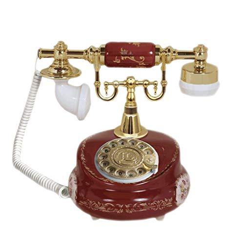 Figura de la flor del teléfono retro de cerámica Metal giratorio Mecánico Tono de llamada Marcación manos libres Jardín...
