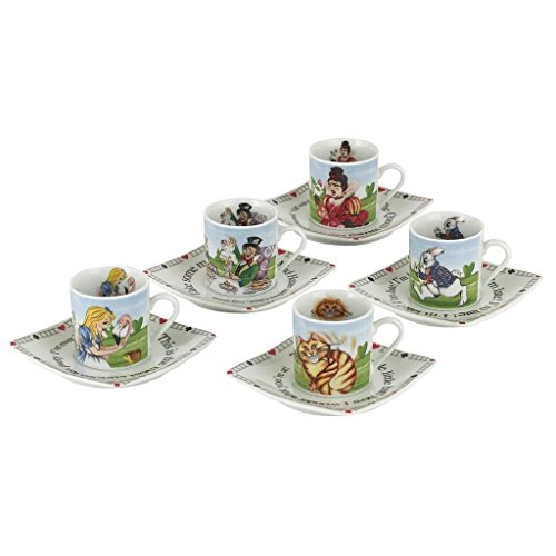 Cardew Design Alice in Wonderland Porcelain 3-Ounce Tea Party Cup and Saucer Set, Service for 5