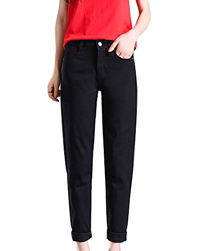 Mujer Pantalones Slim Fit Pantalón Ajustados Casual Longitud Del Tobillo Negro