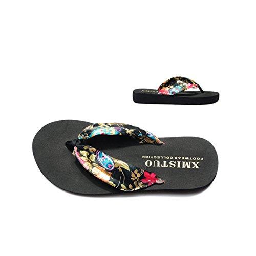 Accueil Plage Sandales Pantoufles Tongs Chaussures Floral Black Plate Femmes Wedge D'été Butterme Sandale Bohème forme Golden OqtP4xcX