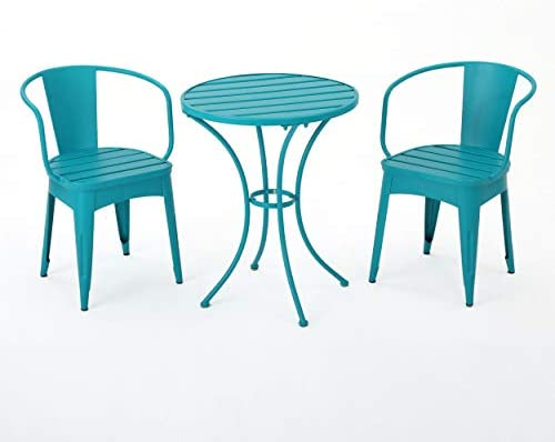 Collins Outdoor 3 Piece Matte Green Iron Bistro Set Matte Teal