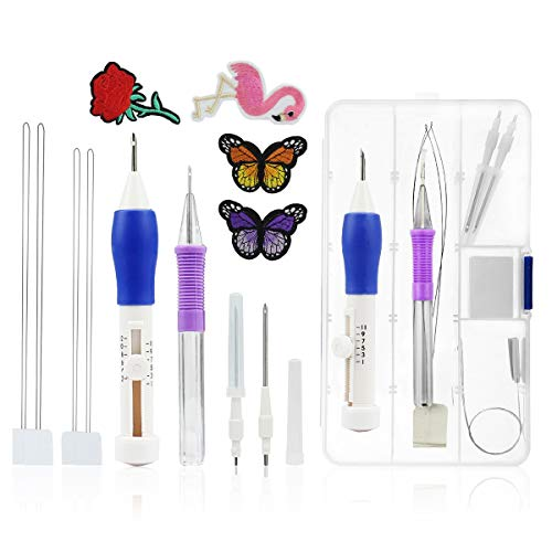 Magic Pen Embroidery Needles - Punch Needle Magic Embroidery Pen Set,Embroidery Patterns Punch Needle Kit Knitting Sewing Tool for DIY Threaders Sewing,Rose and Butterfly Pattern