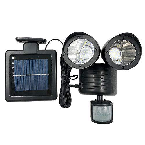 Solar Dual Head Spotlight Motion Sensor 3W 300LM Solar Powered Outdoor Security Lights for Patio Porch Deck Yard Garden Garage Driveway Outsides Wall -