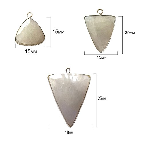 (4 Pcs Natural Rainbow Moonstone Triangle Beads 15mm silver by BESTINBEADS, Natural Rainbow Moonstone Triangle Pendant Bezel Gemstone Connectors over 925 sterling silver bezel jewelry making supplies)
