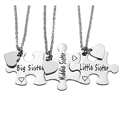 Jovivi Stainless Steel Big Sister/Middle Sister/Little Sister Jigsaw Puzzle Piece Heart Pendant Necklaces for 3 - Sister BFF Best Friends Forever Gift