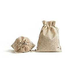 "Luropa 30 pcs Burlap Bag, Gift Bags with Drawstring Jewelry Pouches Sacks and Cotton Lining for Wedding, Christmas and DIY Craft (7.1"" x 5.1"")"