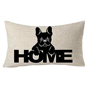 "FELENIW Animal Pet Dog French Bulldog Love is a Four Legged Dog Throw Pillow Cover Cushion Case Cotton Linen Material Decorative 18"" Square (10) 1"