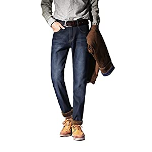 zengli Men's Premium Select Fleece Lined Relaxed Fit Straight Slim Fit Leg Jean