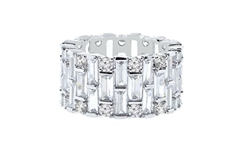 Ring Baguette Heart (NYC Sterling Women Cubic Zirconia Round & Baguette Eternity Ring (7))