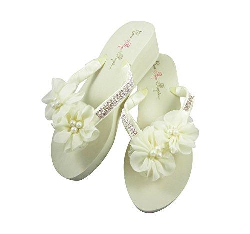 Ivory Bridal Flip Flops with Wedge Heel, Diamond Satin Straps, Chiffon Pearl Flowers