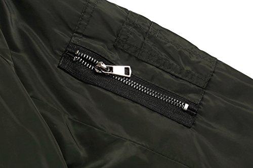 Zeagoo Women Classic Solid Biker Jacket Zip up Bomber Jacket Coat Army Green S by Zeagoo (Image #4)