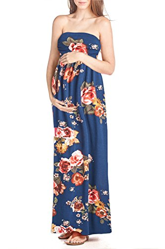 Beachcoco Women's Maternity Comfortable Maxi Tube Dress (XS, Multi 06 Navy Blue)