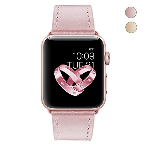 Apple Watch Band, COVERY 42mm iWatch Band Soft Genuine Leather Strap Wristband for Apple Watch Series 2, Series 1, Sport & Edition - Rose Gold
