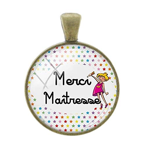Pendants -1Pc Merci Maitresse French Letters Words Pendants Charms 25Mm Glass Bronze Plated Thanks Teachers Mother Gift Jewelry - CT303