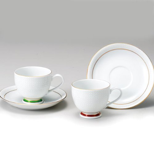 Kutani pair coffee cup white cloisonne (japan - Cloisonne Coffee