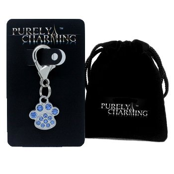 (PURELY CHARMING - Pet Charms/Pendant with Handset Swarovski Crystals - Pawprint, Light Sapphire (Blue))