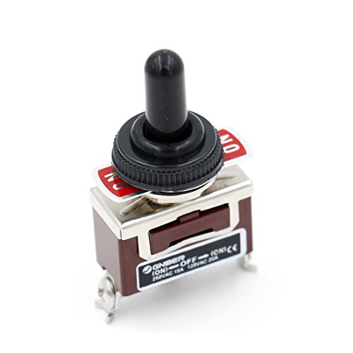 Baomain Toggle switch SPDT (NO)-OFF-(ON) 3 position Momentary 125VAC 20A with Rainproof cap ()
