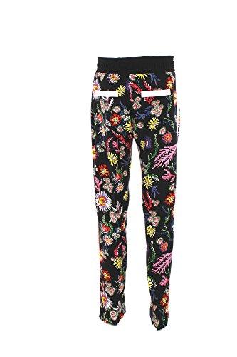 PINKO. Pantalone Terni 1 Nero Stampa Fiori del Mare Multicolore Banda Laterale e Dettagli Rosa Chiaro 1G13326733ZR3