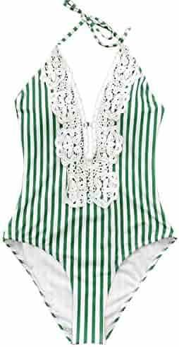 752235052dd CUPSHE Women's Ladies Vintage Lace Bikini Sets Beach Swimwear Bathing Suit