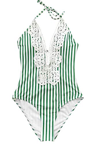 CUPSHE Women's Green Stripe Lace Self-Tie Halter One Piece Swimsuit Small