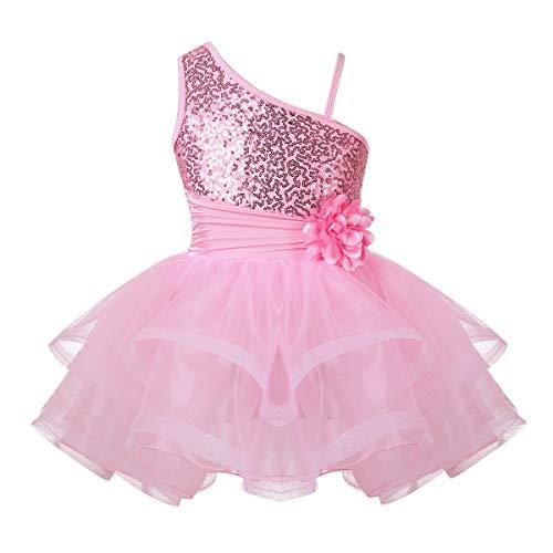 92d1f05b2a66 MSemis Kids Girl Sequined Camisole Tutu Skirts Gymnastics Ballerina Leotard  Active Dress Pink One Shoulder 10-12