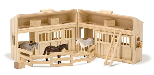 Melissa & Doug Fold & Go Wooden Horse Stable Dollhouse With Handle & Toy Horses (11 Pcs)