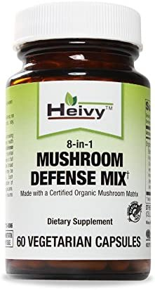 Heivy Mushroom Defense Mix, Made with a Certified Organic Mushroom Matrix — Boost Immune System — 60 Veg Caps