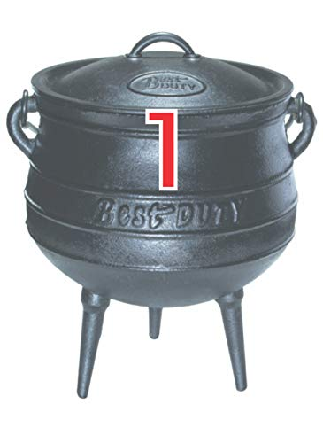 Best Duty Cast Iron Potjie Pot Size 1 - Include complementary Lid Lifter Knob ($9.95 value)