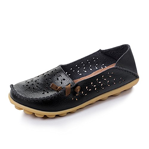 Blivener Donna Mocassini Casual Hollow Flat Shoes Summer Slippers Nero