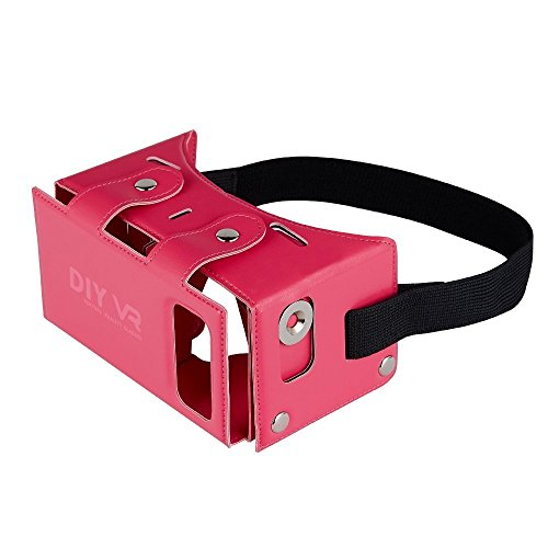 Google Cardboard,DAISEN PU leather 3D VR Bo,Movie Game Virtual Reality Headset Glasses for Smartphones,Iphone(Pink)