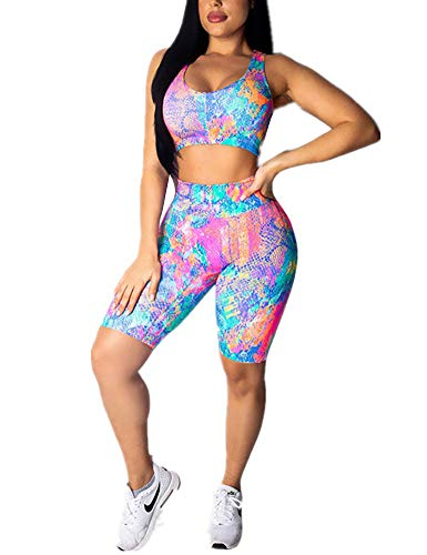 (Sexy 2 Piece Outfits Summer Bodycon Tracksuit Floral Tank Top Short Blue Purple)
