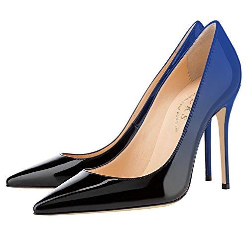 Bleu Da Pizzo Verniciata Mesdames noir 10cm Dégradé De Eks Abito Sposa Pompes Pelle Con amp; Impression En Fête pBFOxwqZ