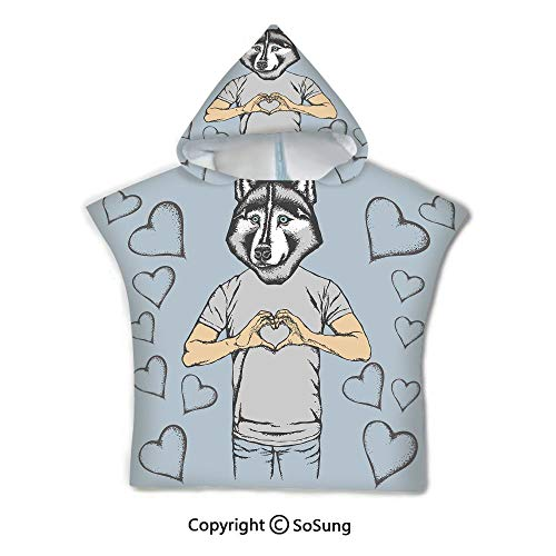 Modern Toddler Hooded Beach Bath Towel,Husky Dog Faced Man at Valentines with Hearts Romantic Love Display,1-7 Years Old Microfiber Bath Robe,Slate Blue Grey Sand Brown,for Beach Pool Shower
