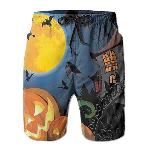 lsrIYzy Men Swim Trunks Beach Shorts,Gothic Halloween Haunted House Party Theme Design Trick Or Treat Motifs Print M -