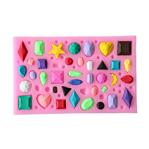 Fondant Molds - Mini Gem Shaped Fondant Mold Resin Clay Chocolate Candy Silicone Cake Mould Decorating - Boss Cake Tools Fondant Molds Decorating Clay Extruders Resin Mold Silicon Jewelry Diamo