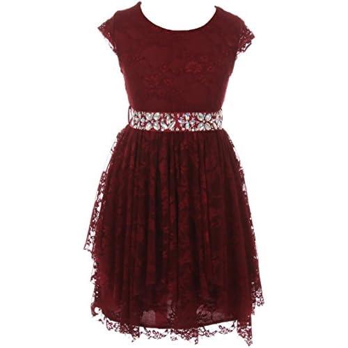 f5e46d7b78b BluNight Collection Little Girls Cap Sleeve Floral Lace Rhinestones Belt  Asymmetrical Flower Girl Dress
