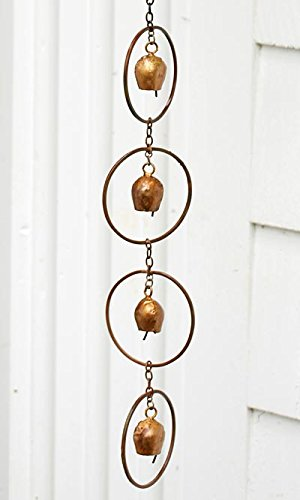 Ancient Graffiti Bell Rain Chains, Copper Colored, Pack of 4