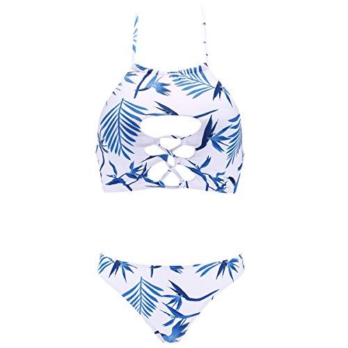 Halter Bikini Floral Print Swimsuit