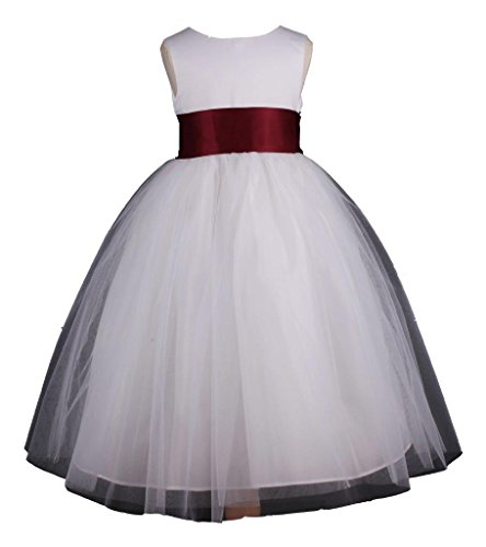 Prince Lover Flower Girl's Wedding Pageant Ankle Length Tulle Dress 12-18M White/Burgundy