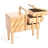 Hobbygift Holznähkästchen mit Beinen, 3 freitragende Ebenen, Helles Holz/Beige