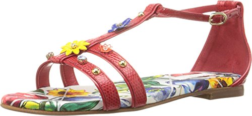 Dolce & Gabbana Kids Girls' Escape Jeweled Sandal (Little), Rosso, 36 (US 5 Big Kid) M by Dolce & Gabbana
