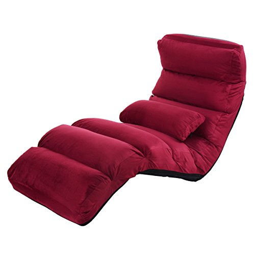 Giantex Folding Lazy Sofa Chair Stylish Sofa Couch Beds Lounge Chair W/Pillow (Burgundy) Lounge Sofa Bed