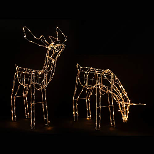Homegear 2 Christmas Reindeers Pre-Lit Lawn Yard Decoration Indoor/Outdoor Use ()
