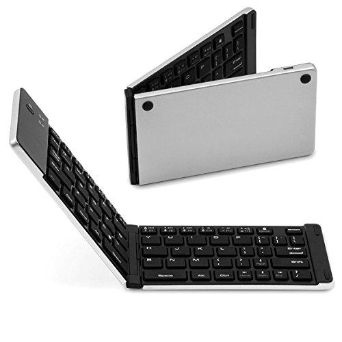 SMICK Foldable Wireless Bluetooth Keyboard for iPad, Macbook, iPhone7 etc.,F66 Silver - Apple Wireless Keyboard Kit