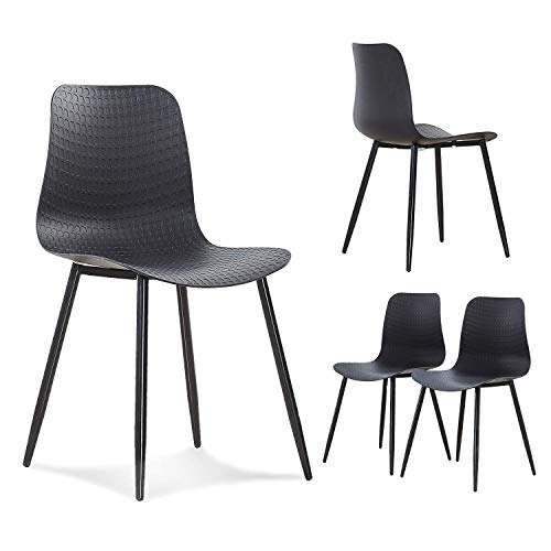 - GreenForest Dining Chairs Set of 4 Mid Century Modern Chairs for Kitchen Living Room Side Chairs with Metal Legs and Plastic Seat, Black