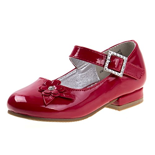 (Josmo Girls Low Heel Dress Shoes with Rhinestone Buckle and Flower, Red, Size 12 US Little)